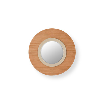 Applique murale lens circular bois naturel de cerisier ivoire led 3000k 160lm l24 5cm h24 5cm lzf normal