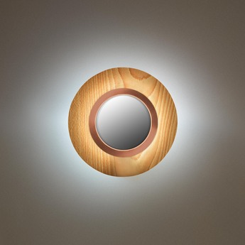 Applique murale lens circular hetre naturel cuivre led 3000k 160lm l24 5cm h24 5cm lzf normal
