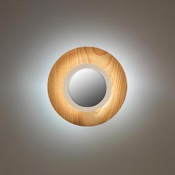 Applique murale lens circular hetre naturel ivoire led 3000k 160lm l24 5cm h24 5cm lzf normal