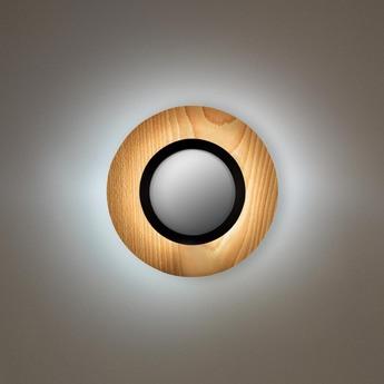 Applique murale lens circular hetre naturel noir led 3000k 160lm l24 5cm h24 5cm lzf normal