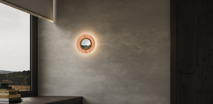 Applique murale lens circular rose pale cuivre led 3000k 160lm l24 5cm h24 5cm lzf normal