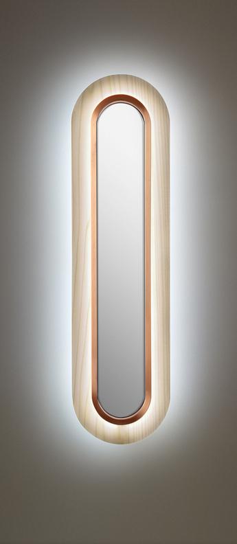 Applique murale lens superoval blanc ivoire cuivre led 3000k 533lm l22cm h78cm lzf normal
