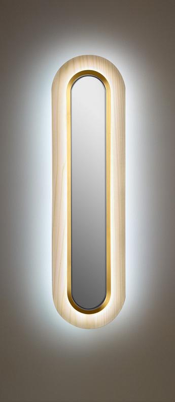 Applique murale lens superoval blanc ivoire dore led 3000k 533lm l22cm h78cm lzf normal