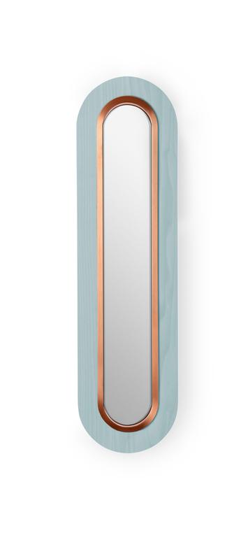 Applique murale lens superoval bleu mer cuivre led 3000k 533lm l22cm h78cm lzf normal