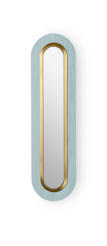Applique murale lens superoval bleu mer dore led 3000k 533lm l22cm h78cm lzf normal