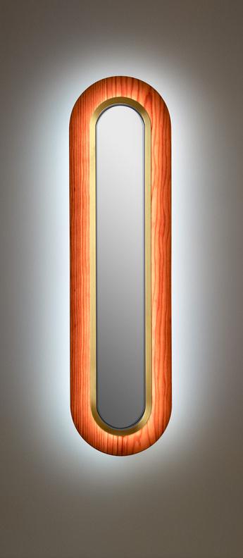 Applique murale lens superoval bois naturel de cerisier dore led 3000k 533lm l22cm h78cm lzf normal