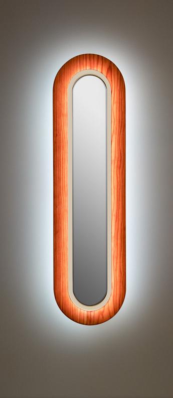 Applique murale lens superoval bois naturel de cerisier ivoire led 3000k 533lm l22cm h78cm lzf normal