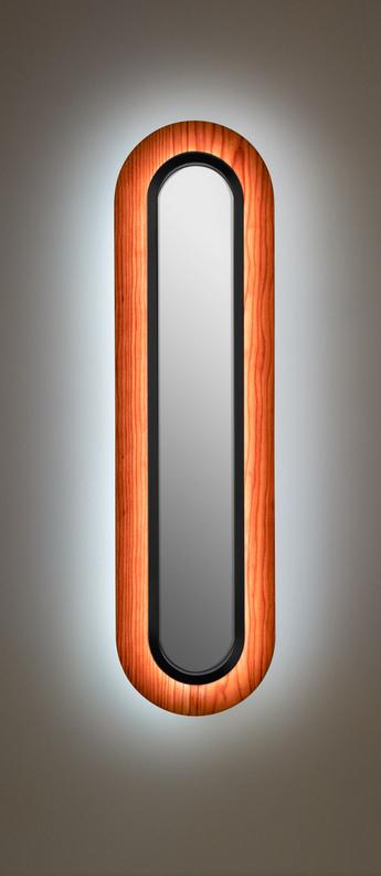 Applique murale lens superoval bois naturel de cerisier noir led 3000k 533lm l22cm h78cm lzf normal