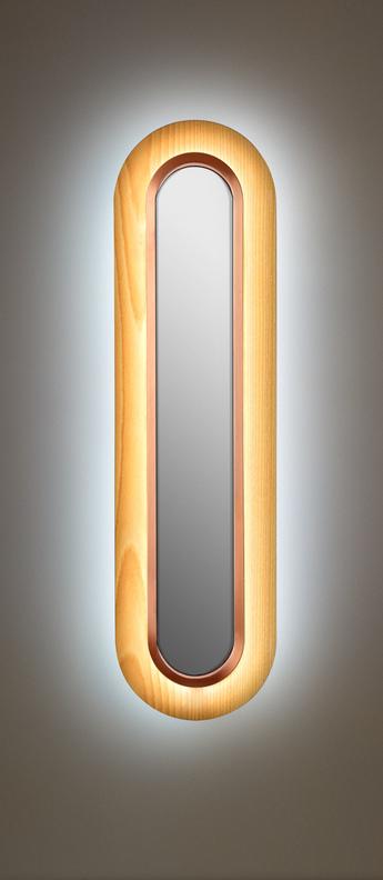 Applique murale lens superoval hetre naturel cuivre led 3000k 533lm l22cm h78cm lzf normal