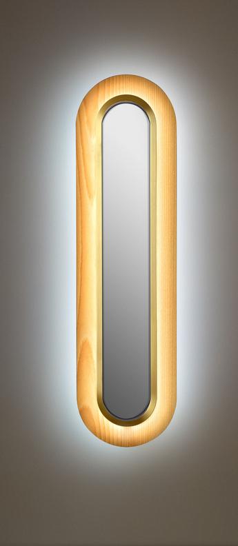Applique murale lens superoval hetre naturel dore led 3000k 533lm l22cm h78cm lzf normal