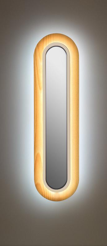 Applique murale lens superoval hetre naturel ivoire led 3000k 533lm l22cm h78cm lzf normal