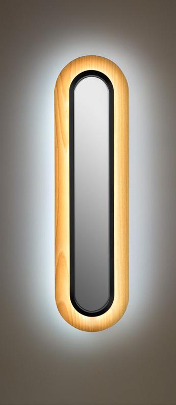Applique murale lens superoval hetre naturel noir led 3000k 533lm l22cm h78cm lzf normal