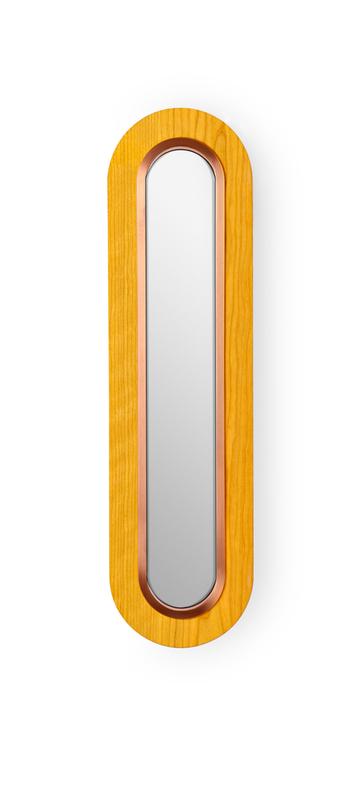 Applique murale lens superoval jaune cuivre led 3000k 533lm l22cm h78cm lzf normal