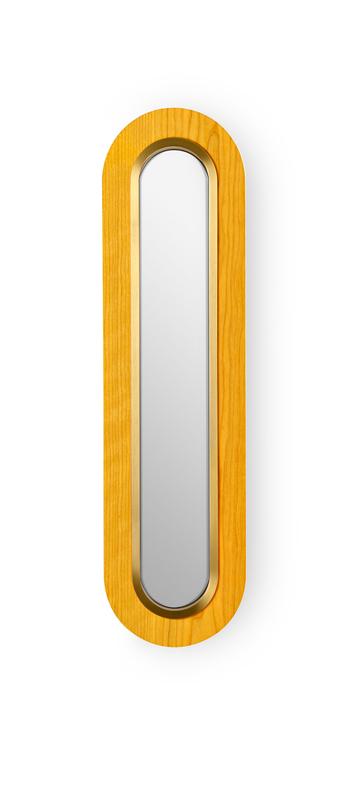 Applique murale lens superoval jaune dore led 3000k 533lm l22cm h78cm lzf normal