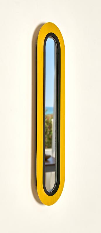 Applique murale lens superoval jaune noir led 3000k 533lm l22cm h78cm lzf normal