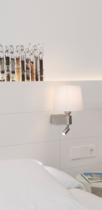 Applique murale liseuse double interrupteur room blanc h29cm faro normal