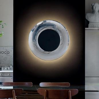 Applique murale lunaire aluminium noir o75cm fontana arte normal