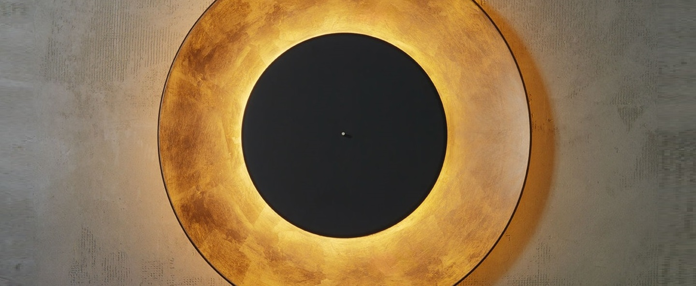 applique murale lunaire cuivre noir 75cm fontana. Black Bedroom Furniture Sets. Home Design Ideas
