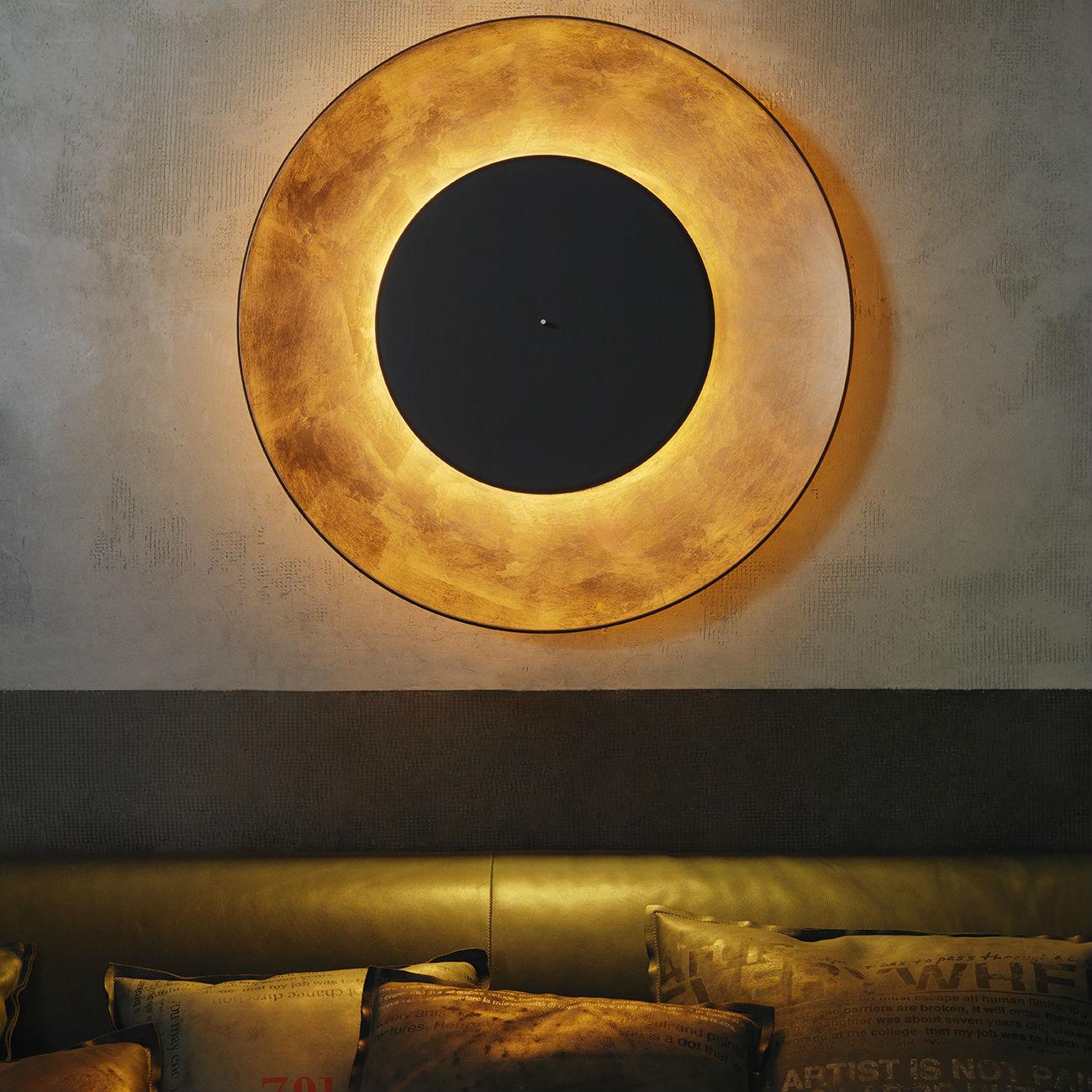 applique murale, lunaire, cuivre, noir, Ø75cm - fontana arte