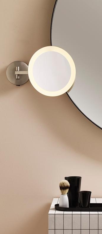 Applique murale mascali round nickel mat ip44 led 2700k 76lm l21 5cm h21 5cm astro lighting normal