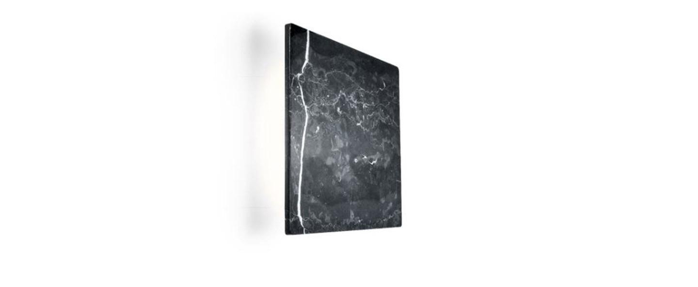 Applique murale miles 2 0 carre noir marbre led 3000 430 l22cm h22cm wever ducre normal