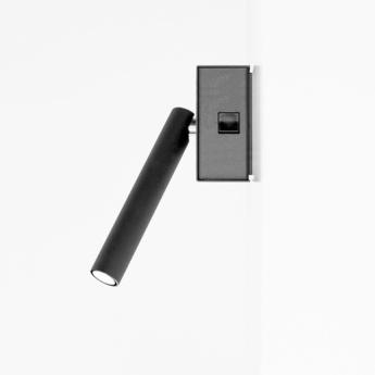 Applique murale mira switch avec interrupteur noir mat led 2700k 352lm l15 2cm h18 1cm davide groppi normal