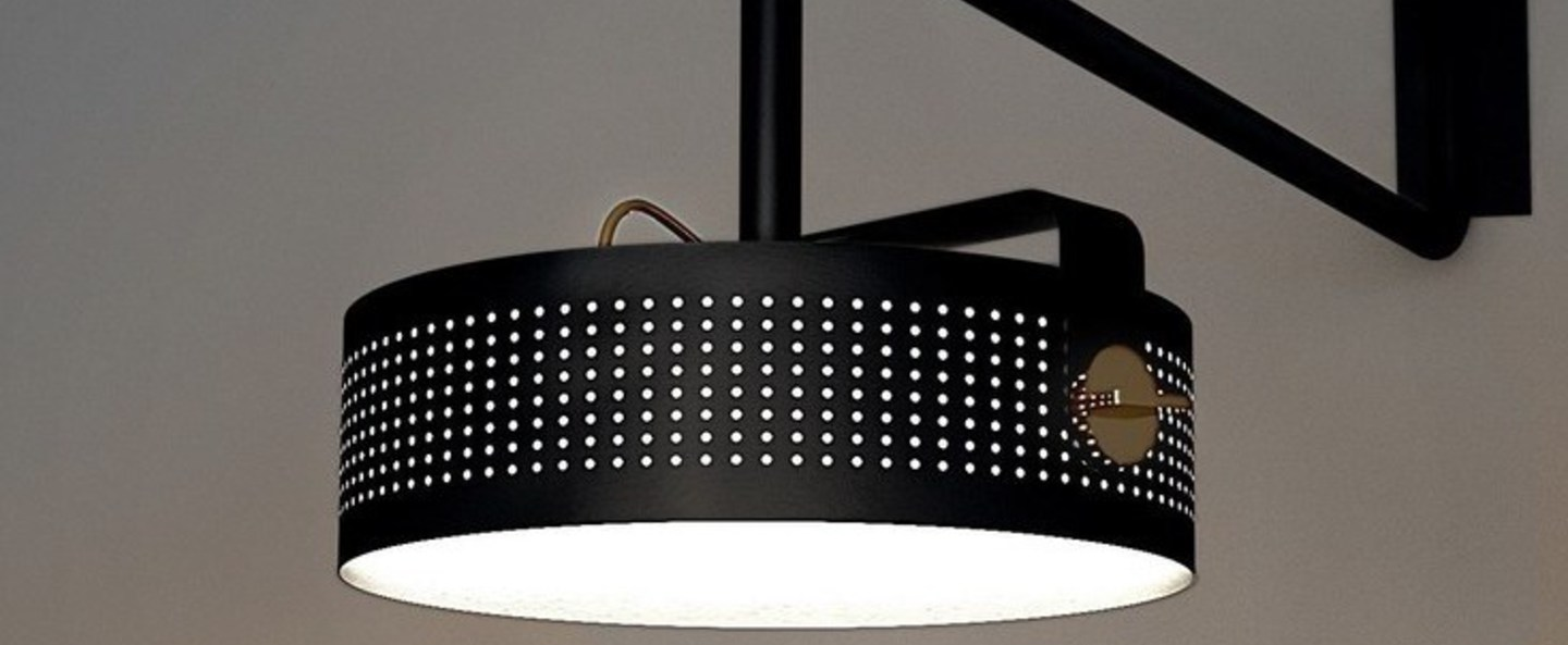 Applique murale modena noir led o41cm h16cm martinelli luce normal