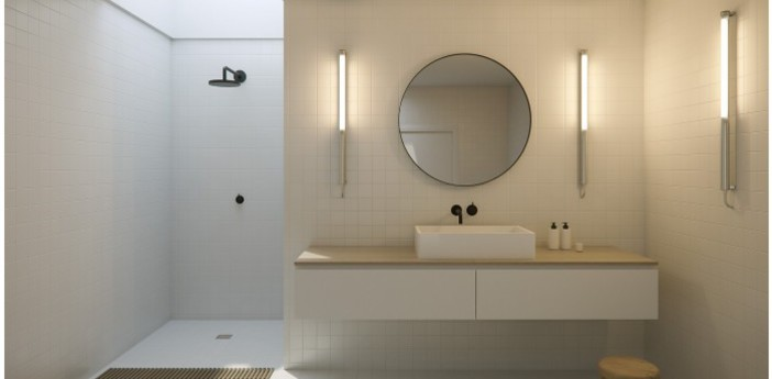 Applique murale mondrian dimmable 2700k inox l130cm ip68 sammode normal