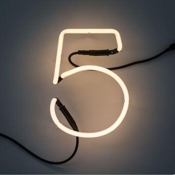 Applique murale neon art chiffre 5 transformateur blanc h17cm seletti normal