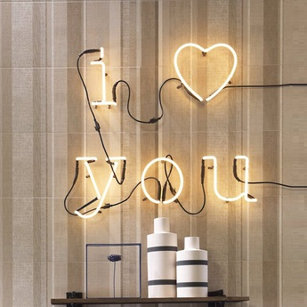 Applique murale neon art i love you transformateur blanc brillant h17cm seletti normal