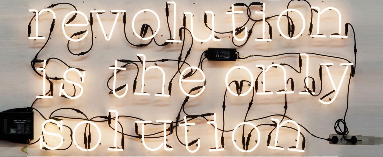 Applique murale neon art revolution is the only solution transformateur blanc brillant h17cm seletti normal