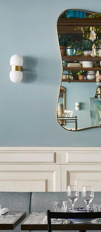 Applique murale nuvol double brass laiton verre opalin l13cm h23cm contain normal