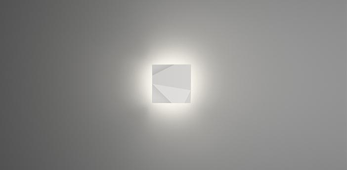 Applique murale origami 4500 blanc ip65 led 2700k 756lm l30cm h30cm vibia normal