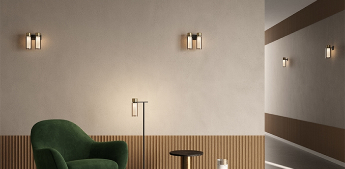 Applique murale osman verre blanc et gris fume metal noir matt et laiton brosse l22cm h23cm tooy normal