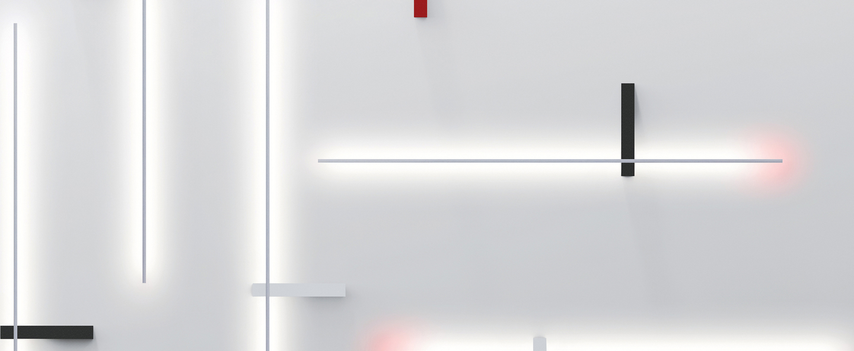 Applique murale outline blanc rouge led l105cm hcm lumen center italia normal