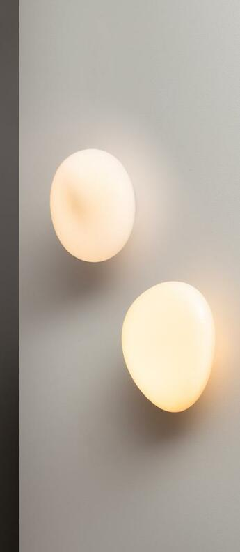Applique murale pebble b blanc perle led dimmable 2700k 1750lm l25cm h30cm andlight normal