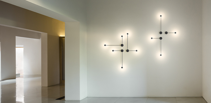 Applique murale pin 1694 noir led 2700k 417lm l70cm h40cm vibia normal