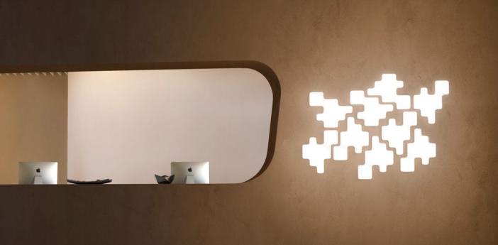 Applique murale pixel blanc l42cm h51cm kundalini normal