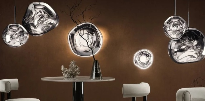 Applique murale plafonnier led melt mini surface chrome o30cm 25cm 3000k 800lm tom dixon normal