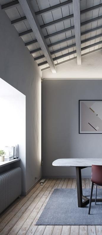 Applique murale plafonnier metro acier inoxydable poli led 3000k l626cm h7 5cm fabbian normal