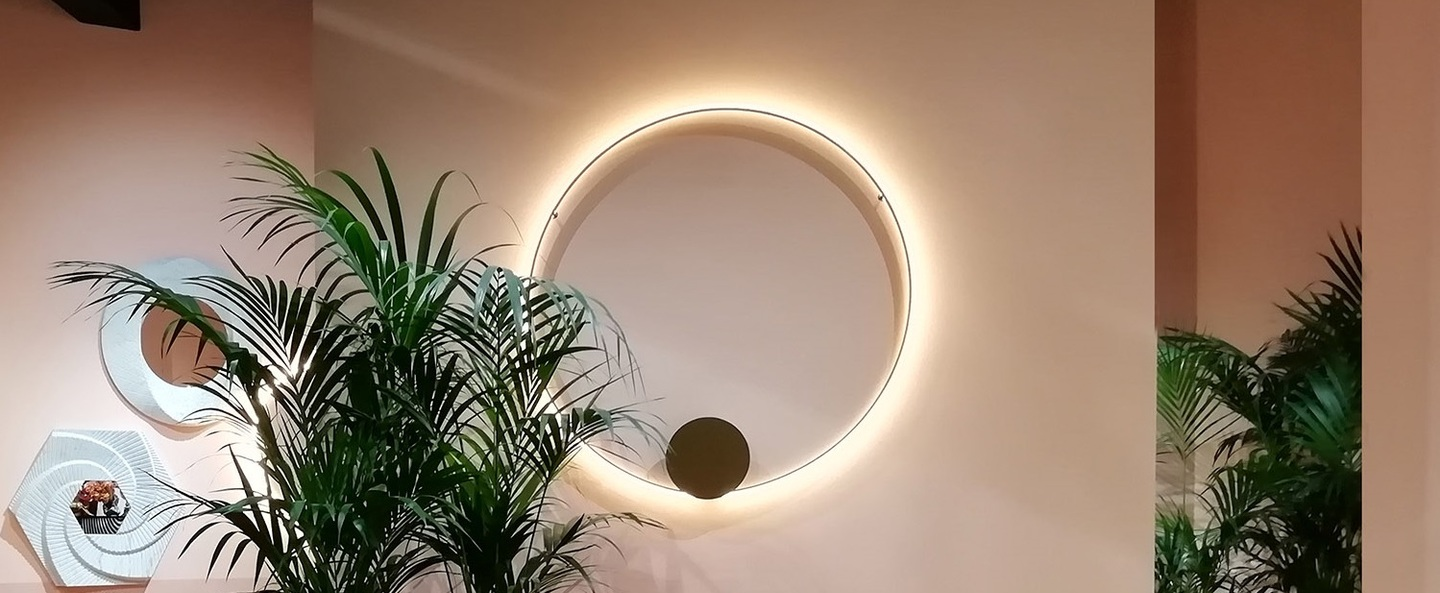 Applique murale plafonnier olympic f45 bronze ip40 led dimmable 2700k l110cm h110cm fabbian normal