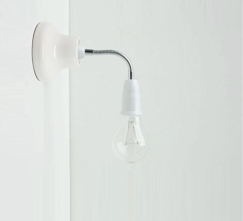 Applique murale porcelaine blanc bras flexible l15cm for Quincaillerie luminaire
