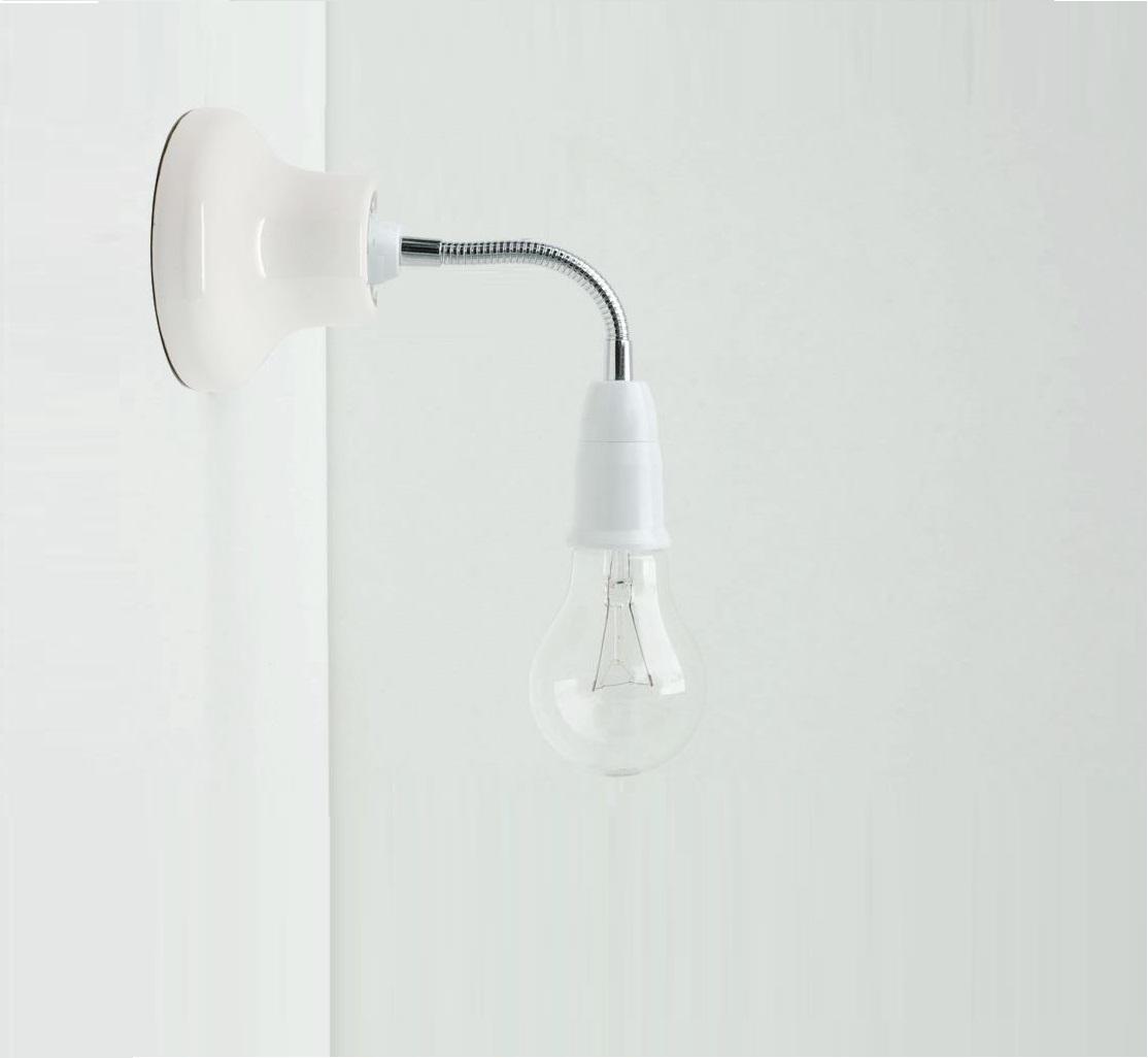 applique murale porcelaine blanc bras flexible l15cm e27 zangra luminaires nedgis. Black Bedroom Furniture Sets. Home Design Ideas