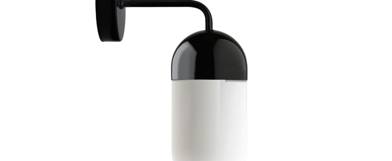 Applique murale pure porcelaine glass 009 noir opalin o10cm h15cm p19cm zangra normal