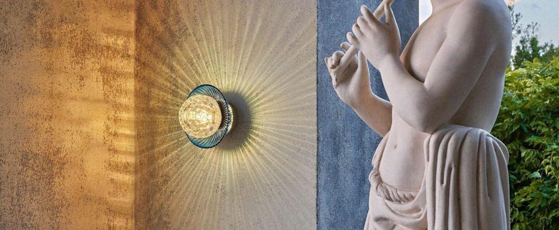 Applique murale royal avec bobeche bleu clair finition doree ip44 o11cm h15cm saint louis normal