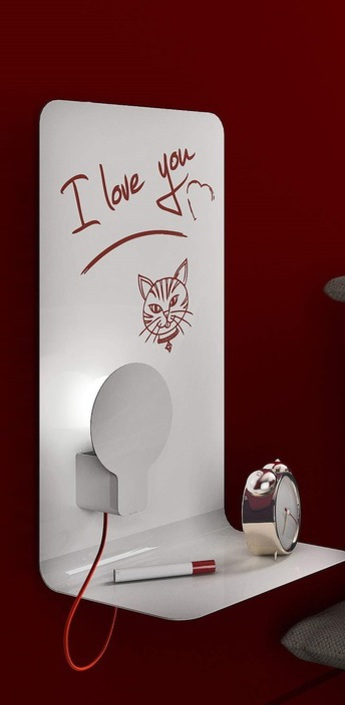 Applique murale sketch blanc fil rouge h61cm led zava normal