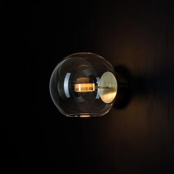 Applique murale soffio transparent laiton bruni l25cm h25 p28cm giopato combes normal