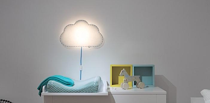 Applique murale soft light blanc bleu led l46cm h48cm buokids normal