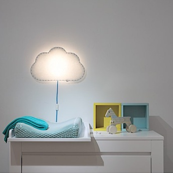 Applique murale soft light blanc bleu led l46cm h48cm buokids normal