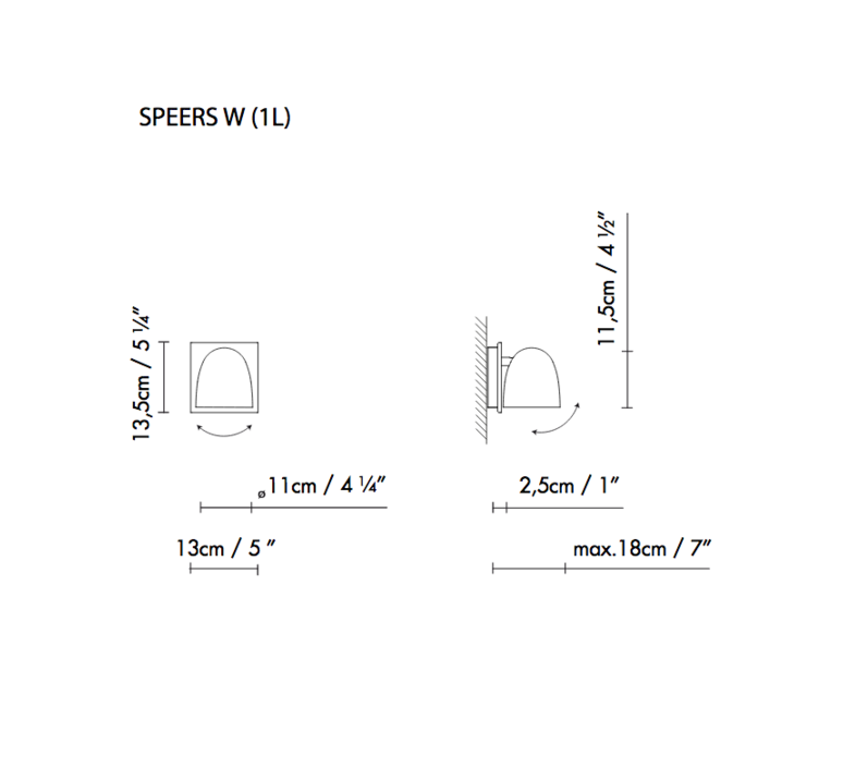 Speers w 1l  applique murale wall light  blux 729112  design signed 57475 product